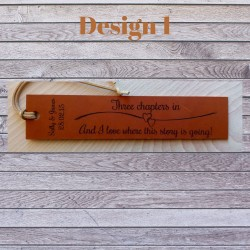 3rd Anniversary Gift - Engraved leather bookmarks