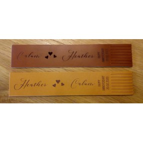 Leather Bookmarks engraved with names and dates for Wedding Anniversary gift