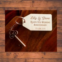 5th Anniversary Gift - Wooden tags and Keyrings engraved and personalised