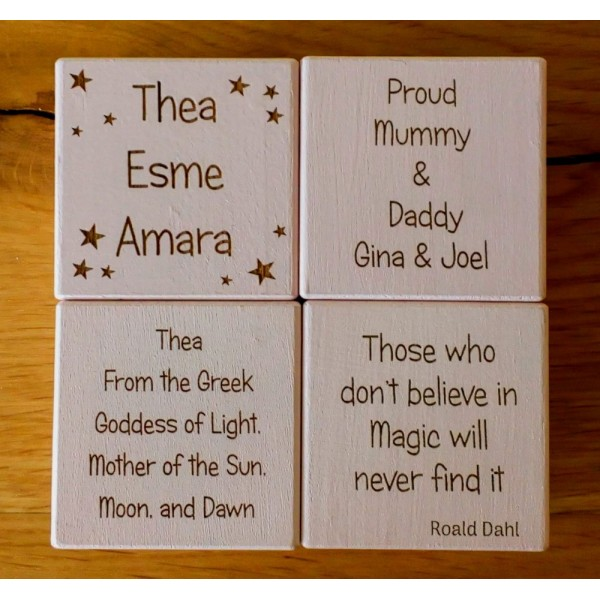 Baby Blocks - Wooden Cubes Personalised in your own ideas