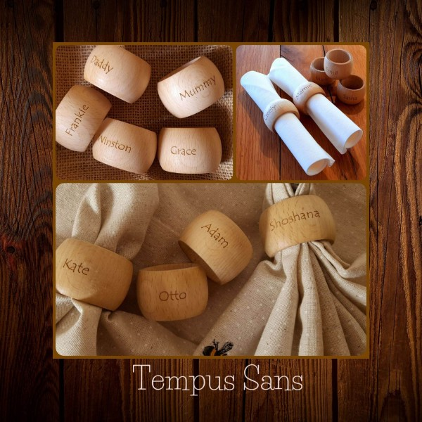 Napkin Rings engraved with names