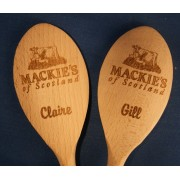 Wooden spoon engraved with company logo or phrase
