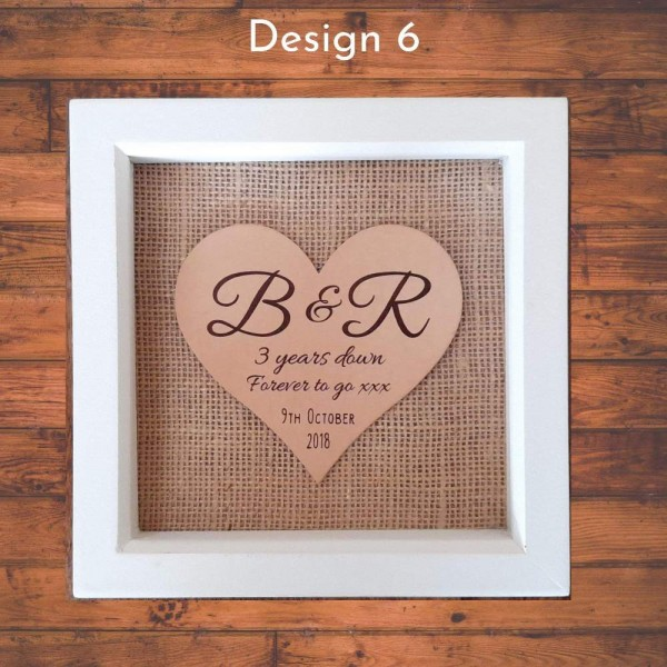 Framed Personalised Leather Hearts