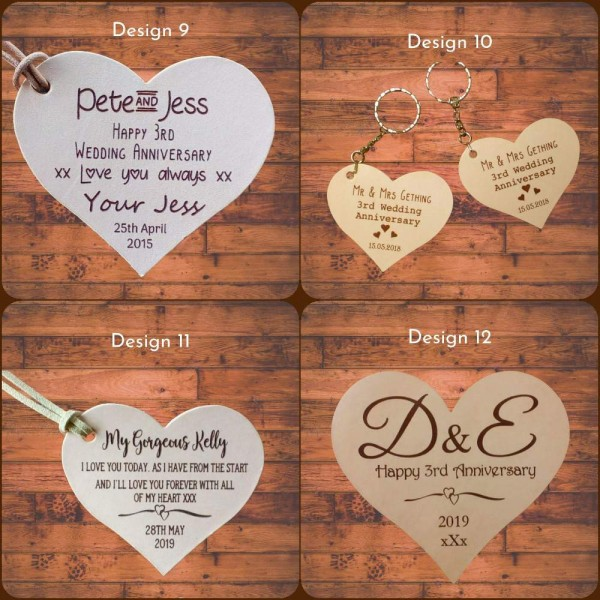 Leather Hearts personalised in our set designs