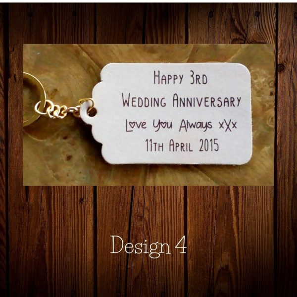 Personalised leather tags or keyrings for a 3rd Leather Anniversary gift in our Set designs