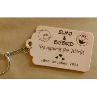 Personalised leather Key fobs, Tags or Keyrings - Scalloped edge