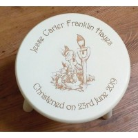Child's Wooden Stool - Painted Off white and engraved