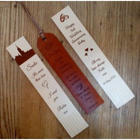 3rd Anniversary Gift - Leather Bookmark in your own ideas