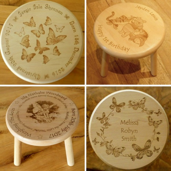 Child's Wooden stool engraved and personalised in any design you like