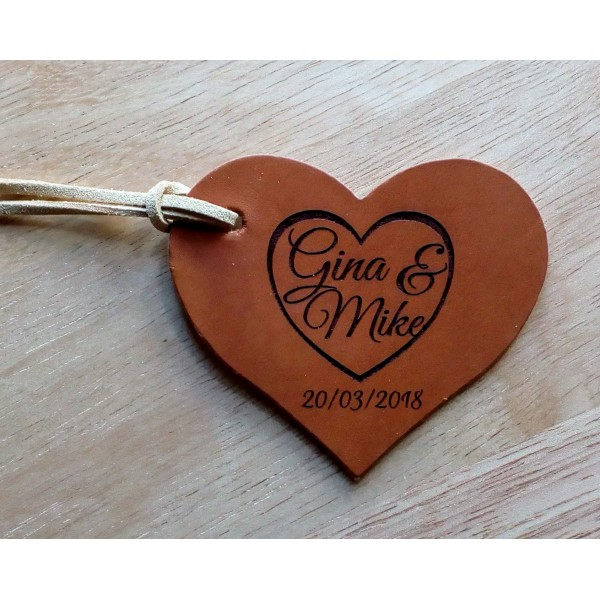 Leather Heart Tags
