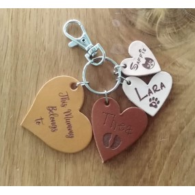 Leather Hearts Bag Charm or Keyring - Engraved with This Mummy belongs to