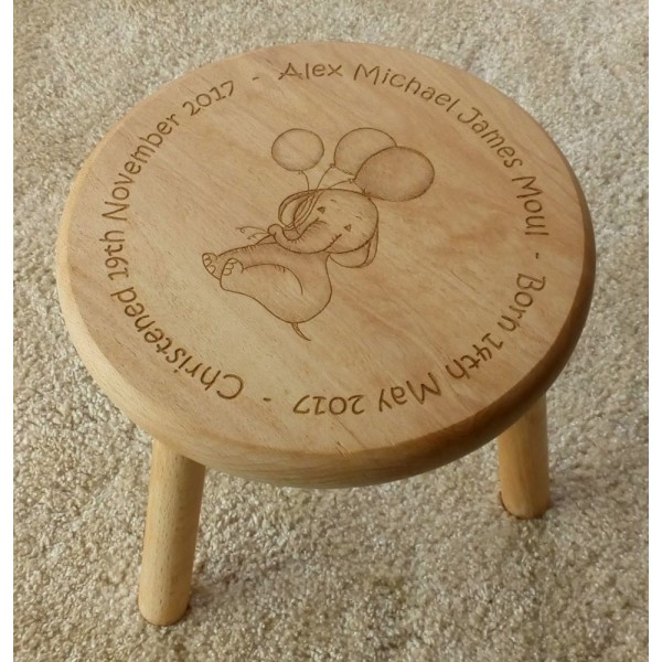 Personalised Child's Wooden Stool - Cute Elephants