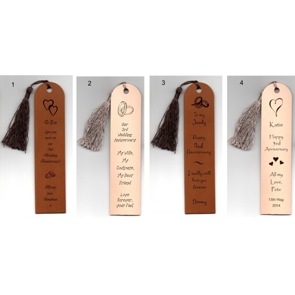 Personalised Leather Bookmarks - Curved top 3rd Anniversary Gift - in our Set Designs