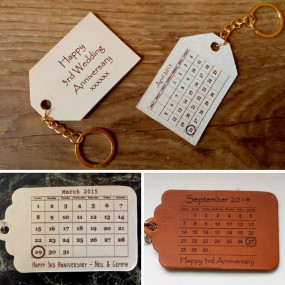 Personalised Leather Keyring or Tag - Calendar Design