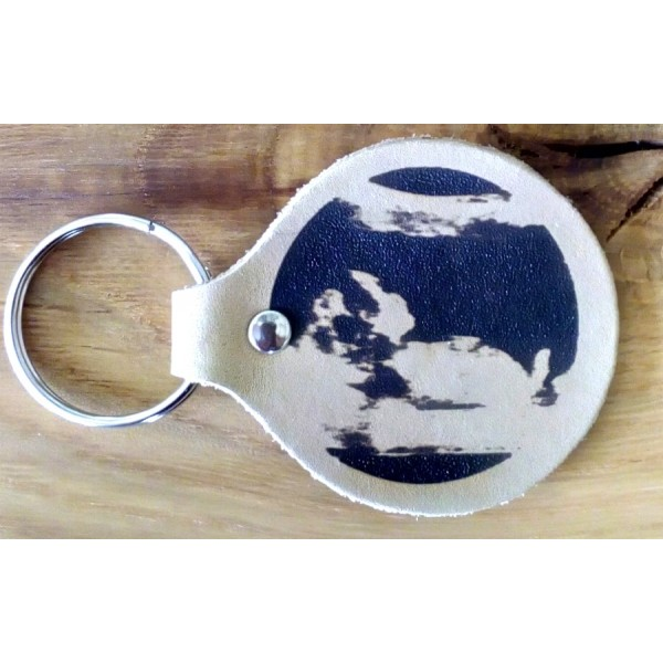 Personalised Leather key fob - Baby Scan engraved