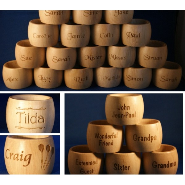 Personalised Napkin Rings - Wooden