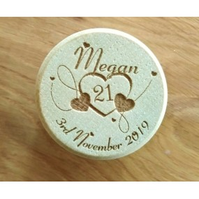 Wooden Ring Box personalised for 18th or 21st Birthday
