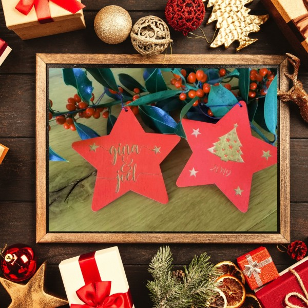 Wooden Stars - Christmas decoration Engraved for baby's first Christmas