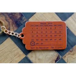 Personalised Leather Keyring or Tag - Calendar Design