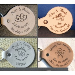3rd  Anniversary Keyring - Key Fob - Engraved in our set designs