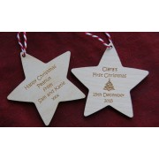 Wooden Stars - Engraved