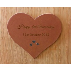 Engraved Leather Hearts - personalised in any design