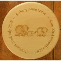 Wooden Stool - Cute Elephants