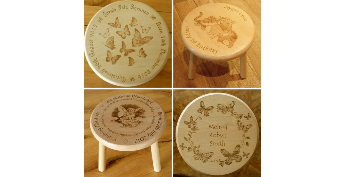 Phenomenal Engraved Wooden Stools For Children Machost Co Dining Chair Design Ideas Machostcouk