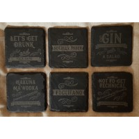 Square Slate Coasters - Personalised in a Vintage Retro design with any wording you like